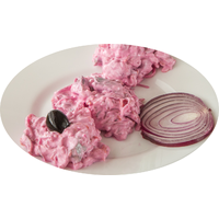 Herring fillet pieces in mayonnaise with beetroots